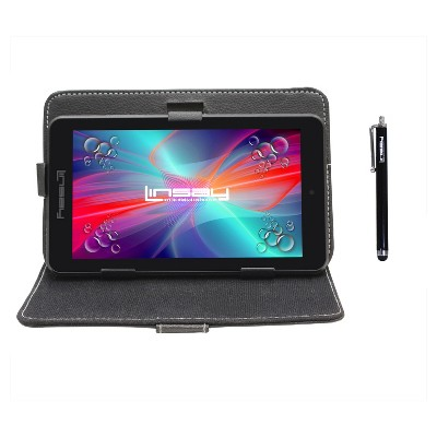 "LINSAY 7"" HD Quad Core Tablet with Black Leather Case and Stylus Pen Android 9.0 PIE 2GB Ram 16GB Storage"