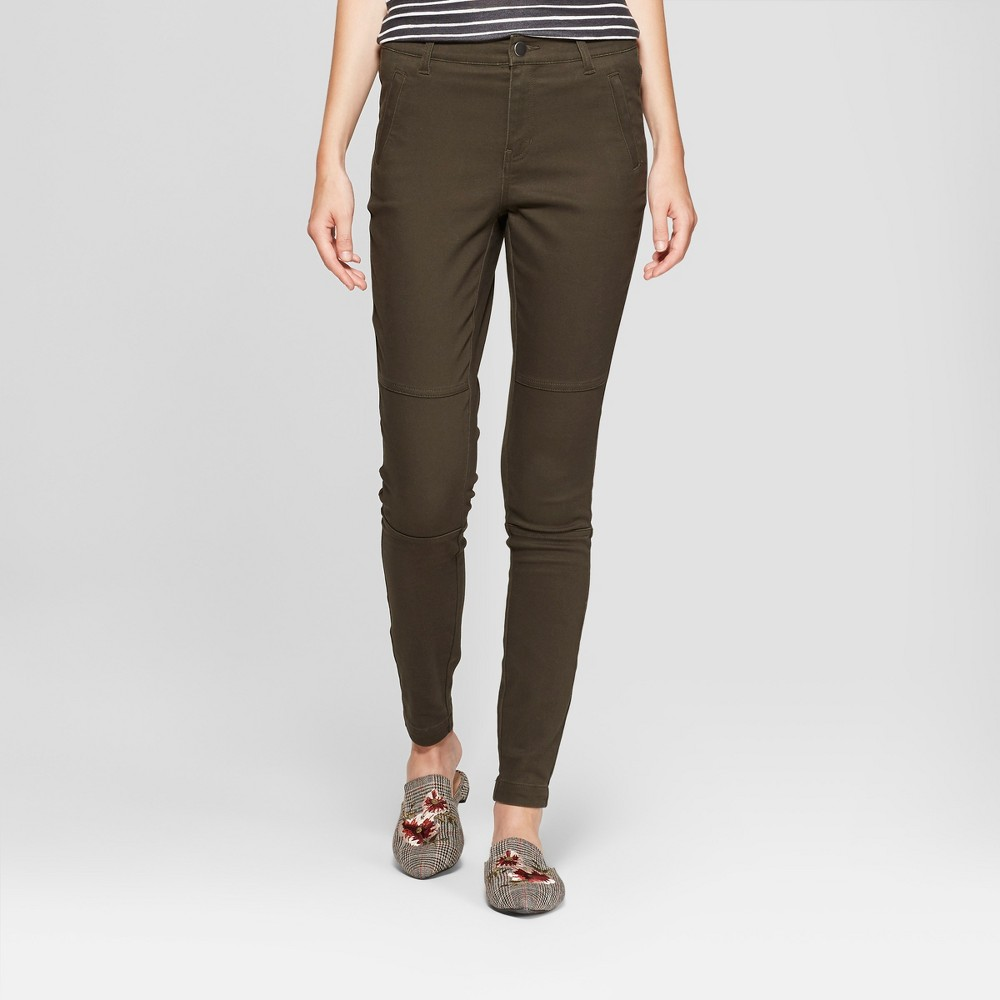 Women's Skinny Utility Chino Pants - A New Day Olive 12, Green