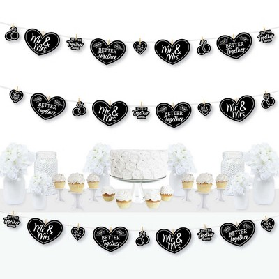 Big Dot of Happiness Mr. and Mrs. - Black and White Wedding or Bridal Shower DIY Decorations - Clothespin Garland Banner - 44 Pieces