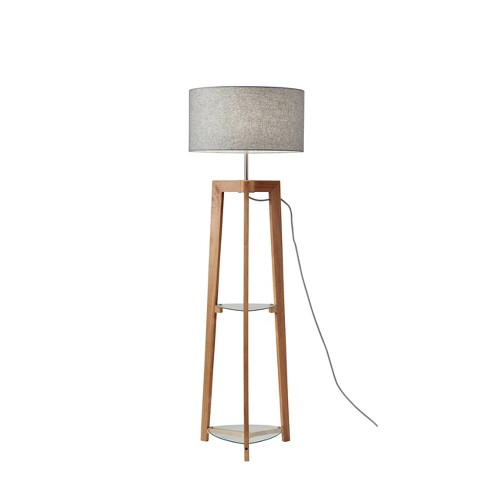 3 Way Henderson Shelf Floor Lamp Wood