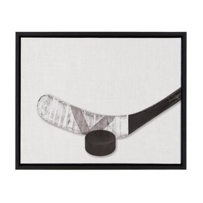 "18"" x 24"" Sylvie Horizontal Hockey Stick And Puck PortraitFramed Canvas Black - DesignOvation"