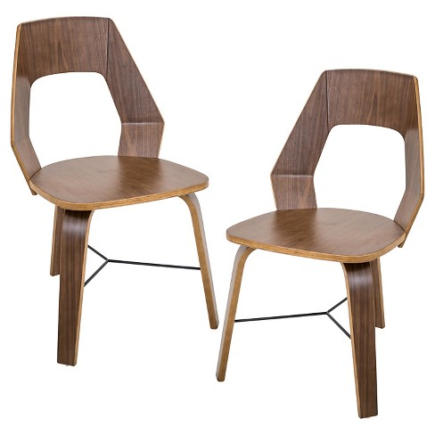 Trilogy Mid Century Modern Chairs - Walnut (Set of 2) - LumiSource - image 1 of 7