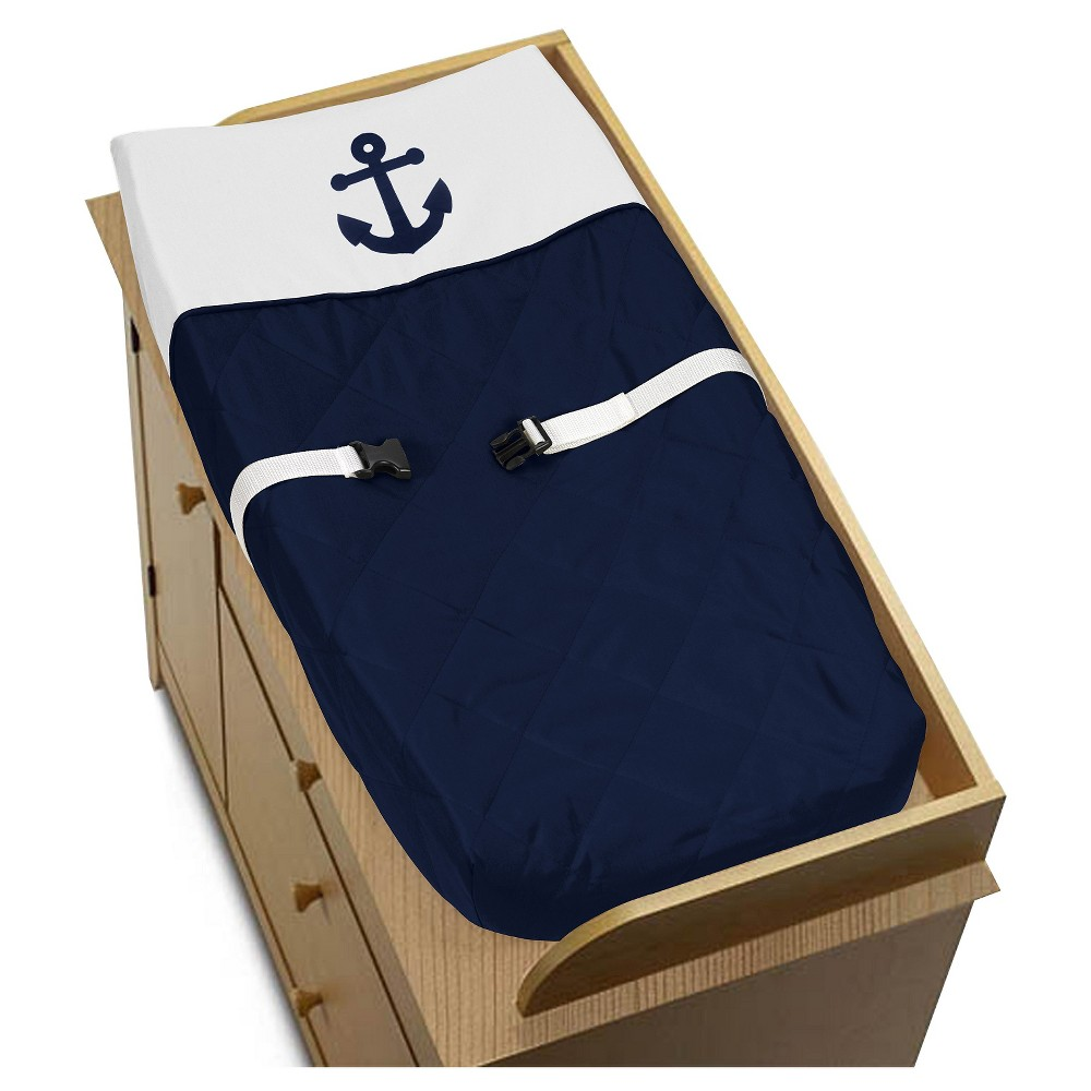 Sweet Jojo Designs Anchors Away Changing Pad Cover - Blue