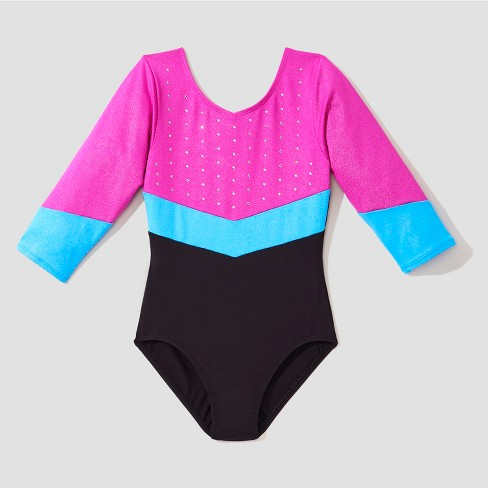 2708ae401935 Freestyle® by Danskin® Girls 3 4 Sleeve Activewear Leotard - Black Magenta
