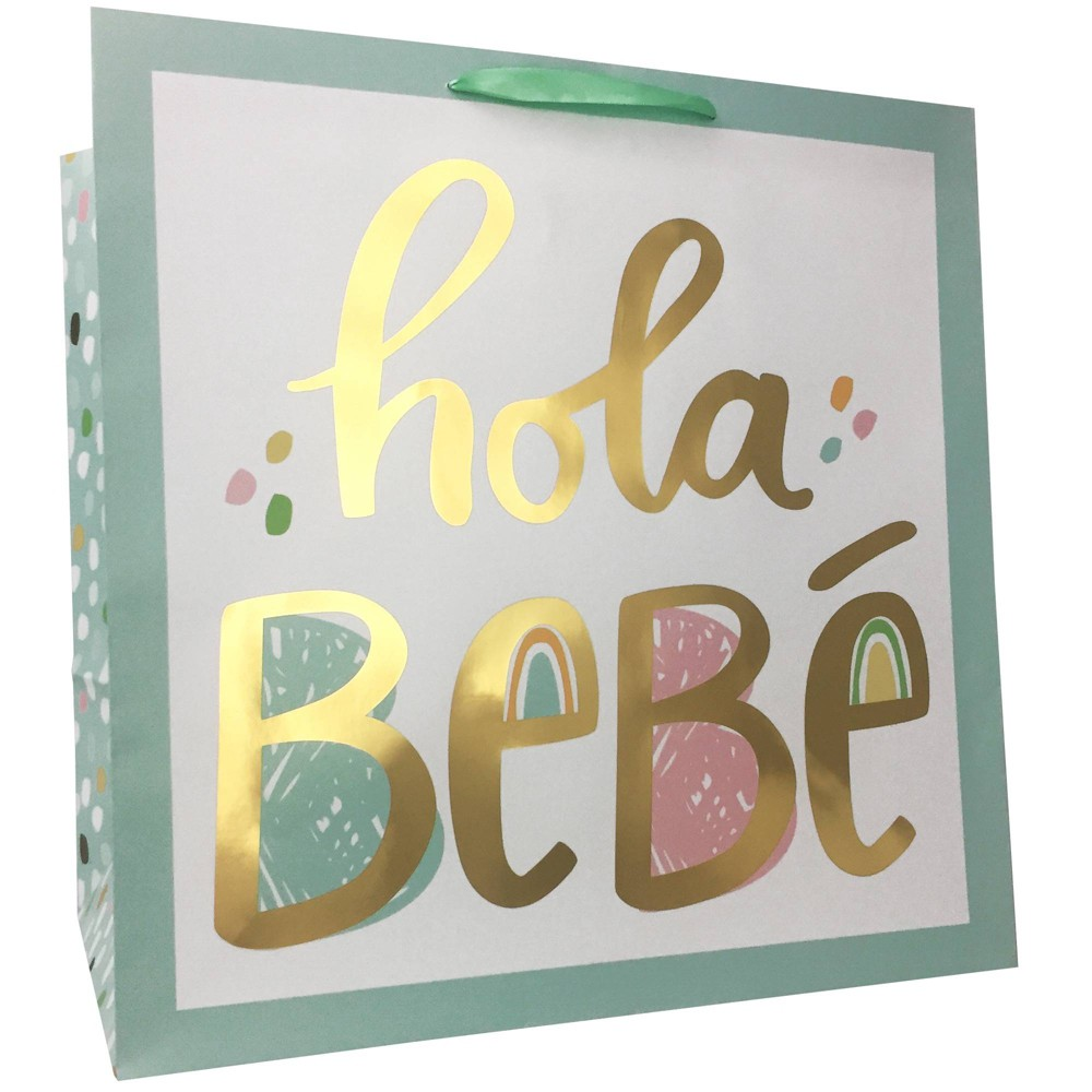 "Image of ""Square """"Hola Bebe"""" Cub Gift Bag - Spritz"""