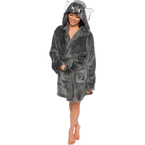 Silver Lilly - Women's Plush Elephant Hooded Robe - image 1 of 4