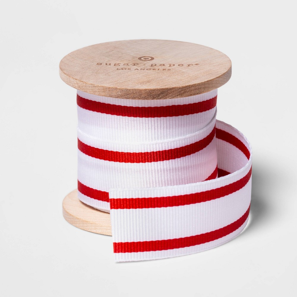 "Image of ""1.0"""" x 15ft White with Red Stripe Grosgrain Ribbon - sugar paper , White Red"""