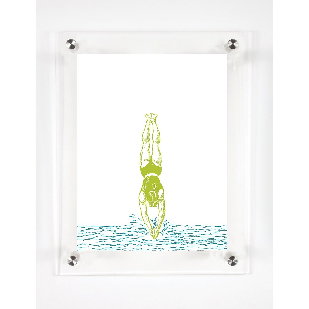 Mitchell Black Divers In the Water Decorative Framed Wall Canvas Kiwi (12