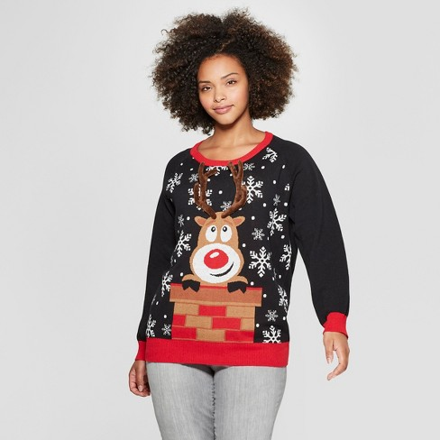 Womens Plus Size Reindeer Interactive Ring Toss Ugly Sweater Well