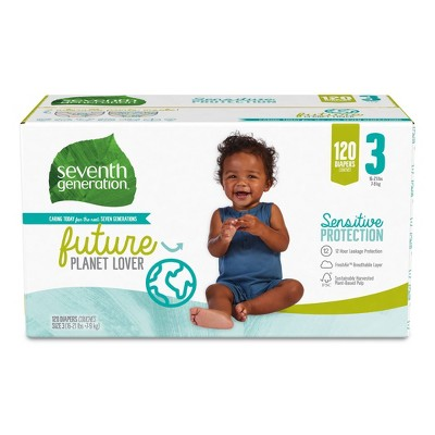 Seventh Generation Sensitive Protection Diapers Giant Pack - Size 3 - 120ct