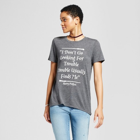 Women's Harry Potter® I Don't Go Looking For Trouble, Trouble Usually Finds Me Graphic T-Shirt Charcoal (Juniors') - image 1 of 2