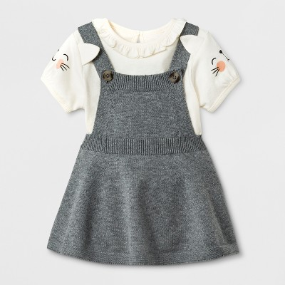 Baby Girls' Short Sleeve Bodysuit with Sweater Skirtall - Cat & Jack™ Cream/Gray 0-3M