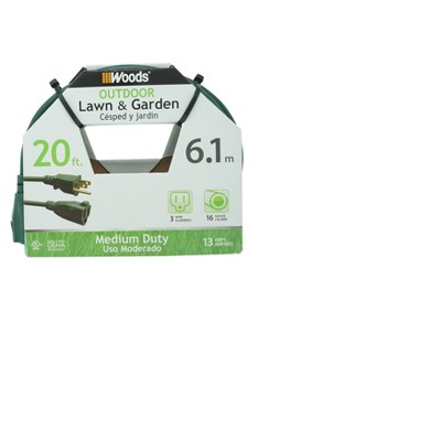 Woods 20' Extension Cord Green