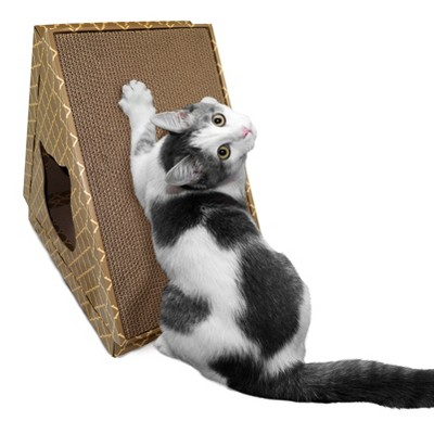 FurHaven Corrugated Tent Cat Scracter House with Catnip