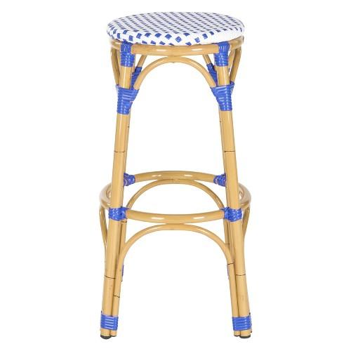 Vichy Wicker Patio Barstool Blue White Safavieh