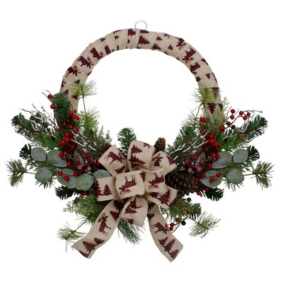 Northlight Burlap Wrapped Artificial Christmas Wreath - 24-Inch, Unlit