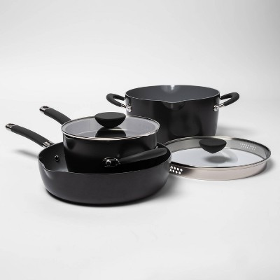 5pc Ceramic Non-Stick Aluminum Stackable Cookware Set - Made By Design™
