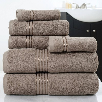 6pc Cotton Hotel Bath Towels Set Taupe - Yorkshire Home