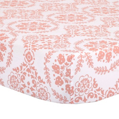 The Peanutshell Fitted Crib Sheet - Medallion Medley - Coral