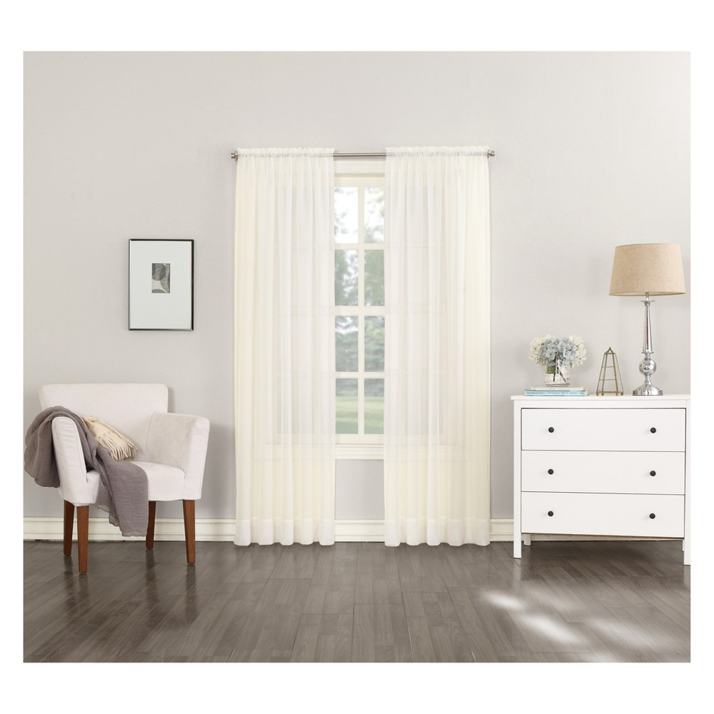 95 34 X59 34 Emily Sheer Voile Rod Pocket Curtain Panel Off White No 918