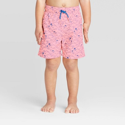Toddler Boys' Pirate Shark Print Swim Trunk - Cat & Jack™ Coral 12M