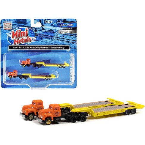 """1954 IH R-190 Truck Tractor with Lowboy Trailer """"Haines Excavating"""" Orange and Yellow Set of 2 pieces 1/160 (N) Scale Models by Classic Metal Works - image 1 of 2"""