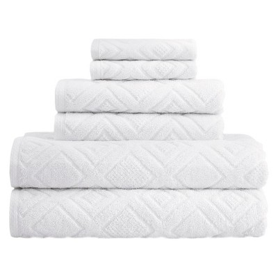 6pc LaRue Turkish Cotton Bath Towel Sets White - Makroteks