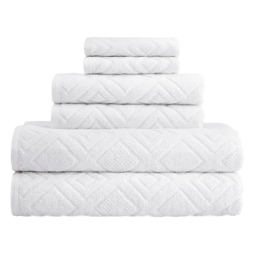 Image of 6pc LaRue Turkish Cotton Bath Towel Sets White - Makroteks