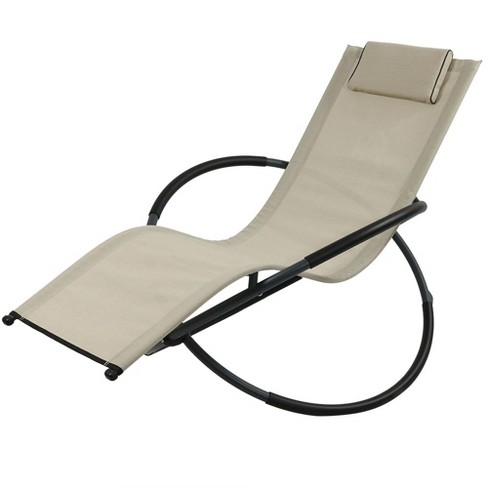 Orbital Folding Rocking Lounger with Pillow - Beige - Sunnydaze Decor - image 1 of 6