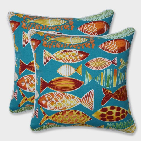 """16.5"""" 2pk Hooked Beach Throw Pillows Blue - Pillow Perfect - image 1 of 1"""