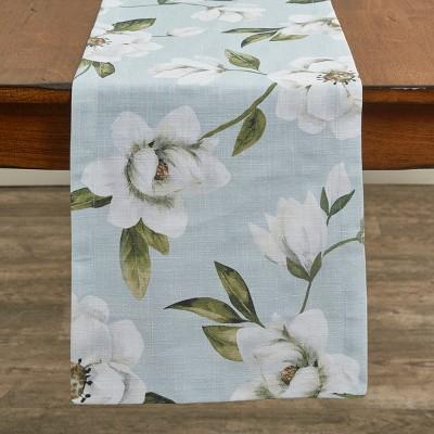 "Split P Magnolia Floral Table Runner - 54""L - Blue"