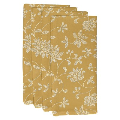 Gold Traditional Floral Print Napkin Set (19 X19 )- E By Design