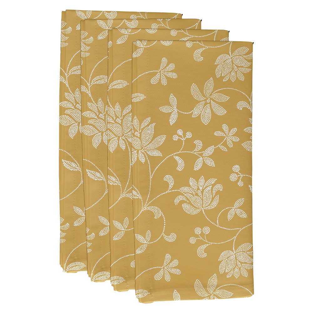 "Image of ""Gold Traditional Floral Print Napkin Set (19""""X19"""") - E By Design"""