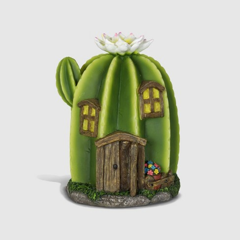 """9"""" Resin Solar Tall Cactus Fairy House With One White Flower Green - Exhart - image 1 of 2"""