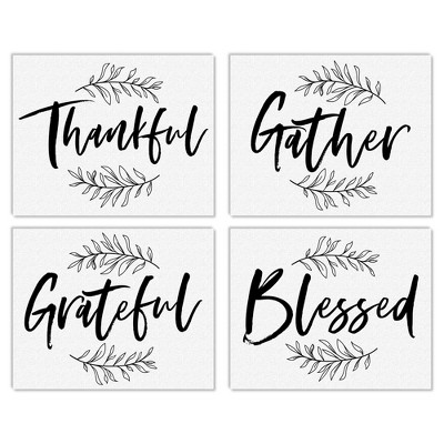 Big Dot of Happiness Thankful Gather Grateful Blessed - Unframed Fall Decor Linen Paper Wall Art - Set of 4 - Artisms - 8 x 10 inches