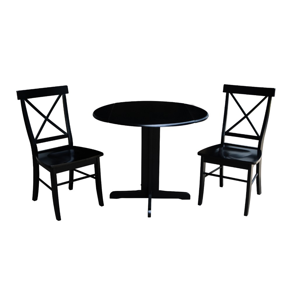 Sensational 36 Dual Drop Leaf Dining Table With Two X Back Chairs Black Inzonedesignstudio Interior Chair Design Inzonedesignstudiocom