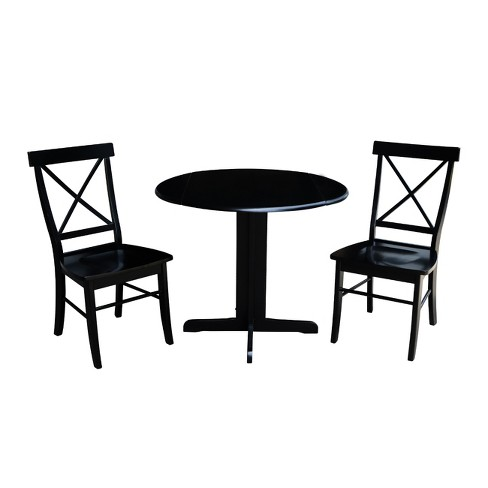 36 Dual Drop Leaf Dining Table With Two X Back Chairs 3pc Set International Concepts