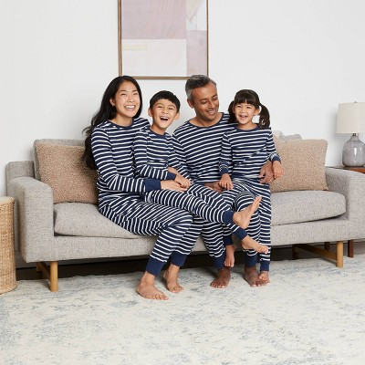Navy Striped 100% Cotton Matching Family Pajamas Collection