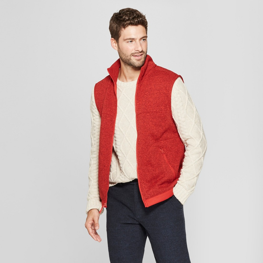 Men's Standard Fit Sweater Fleece Vest - Goodfellow & Co Ripe Red XL