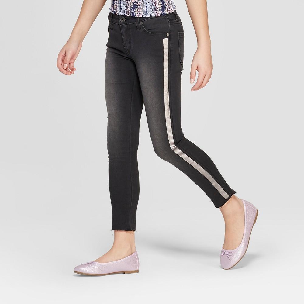 Girls' Metallic Stripe Skinny Jeans - art class Black 14