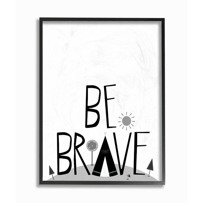 """11""""x1.5""""x14"""" Black and White Be Brave Tee Pee Typography Framed Giclee Texturized Art - Stupell Industries - image 1 of 2"""