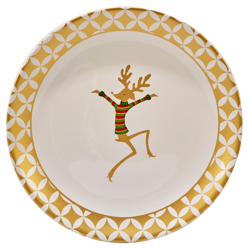 Certified International Gold Dancing Reindeer Round Ceramic Platter 13'' White