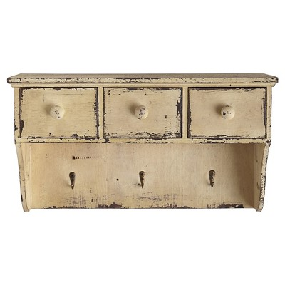 18.75 W Decorative Distressed Wooden Shelf with Drawers and Hooks - Nearly Natural