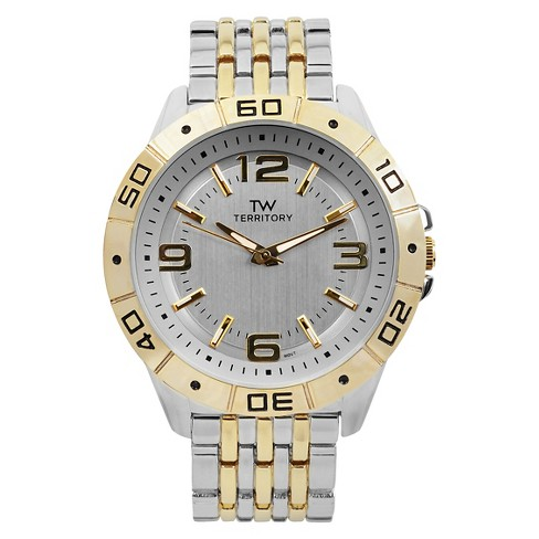 Men's Territory Classic Round Face Basketweave Metal Link Watch - Silver - image 1 of 4