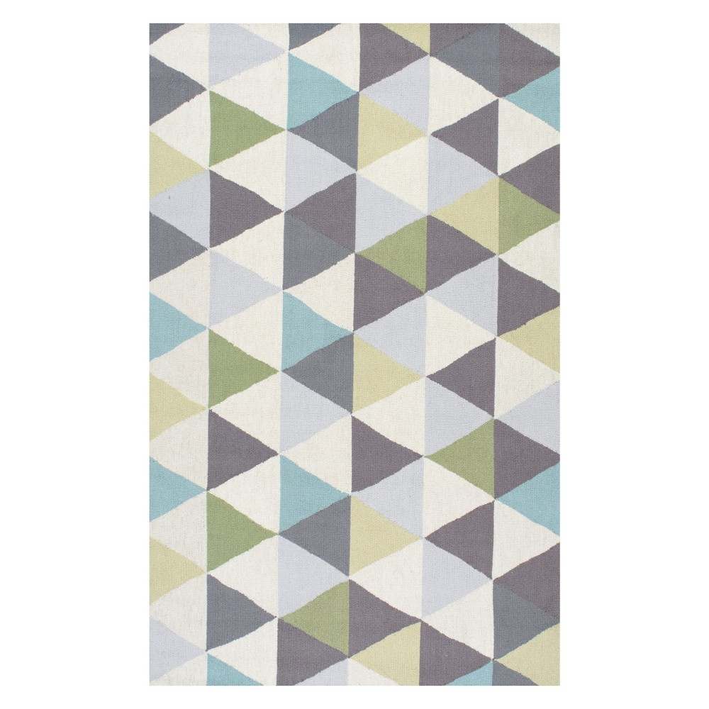 Green Solid Hooked Area Rug 6'X9' - nuLOOM