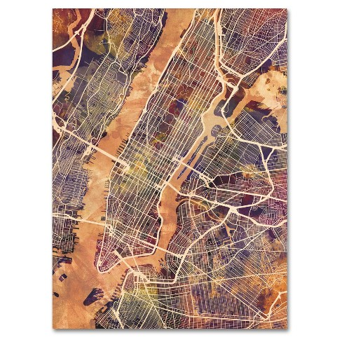 New York City Street Map' by Michael Tompsett Ready to Hang Canvas Wall Art - image 1 of 3
