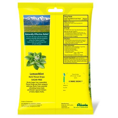ricola cough drops sugar free lemon mint 45ct target