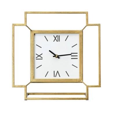 Antiqued Gold Square Table Clock - 3R Studios
