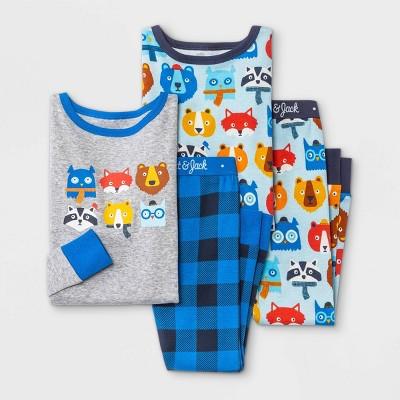 Toddler Boys' 4pc Animal Print and Plaid Snug Fit Pajama Set - Cat & Jack™ Heather Gray