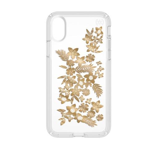 Speck iPhone X Case Presidio - Metallic Gold Yellow Floral - image 1 of 8